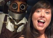 Cailin and Jacques the steampunk robot - A Review of The Toothsome Chocolate Emporium at Universal Orlando