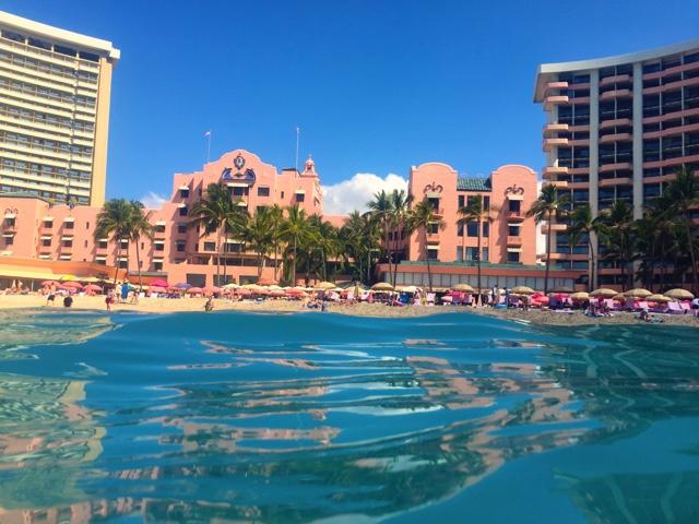 A view of the Royal Hawaiian Hotel in Honolulu on Waikiki beach - Touring Oahu, Hawaii in a Minute