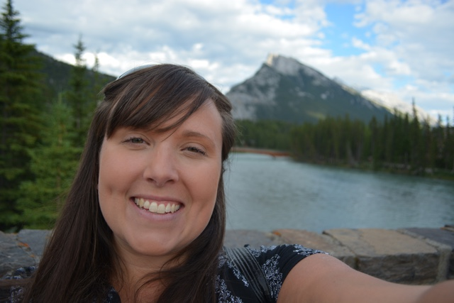 mount rundel selfie from the bow river bridge on Banff Ave - Best Tips for Visiting Banff, Alberta in one day