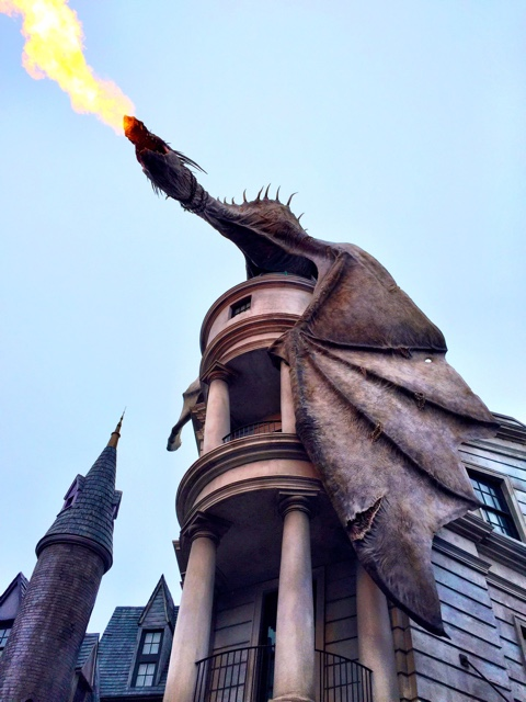 a dragon blows fire on top of Gringotts bank in diagon alley at Universal Studios - The Ultimate Bucket List for Universal Orlando