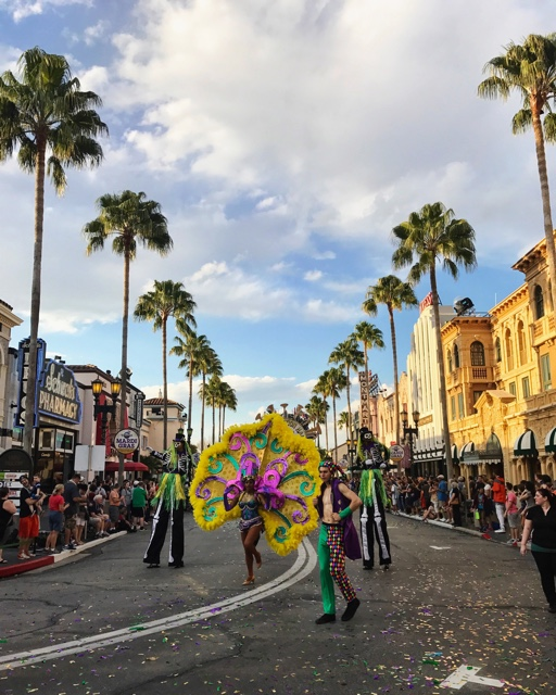 the mardi gras parade at Universal - The Ultimate Bucket List for Universal Orlando