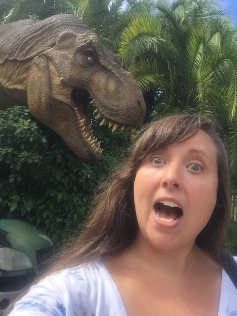 trex selfie at Jurrasic Park world in Universals Islands of adventure - The Ultimate Bucket List for Universal Orlando