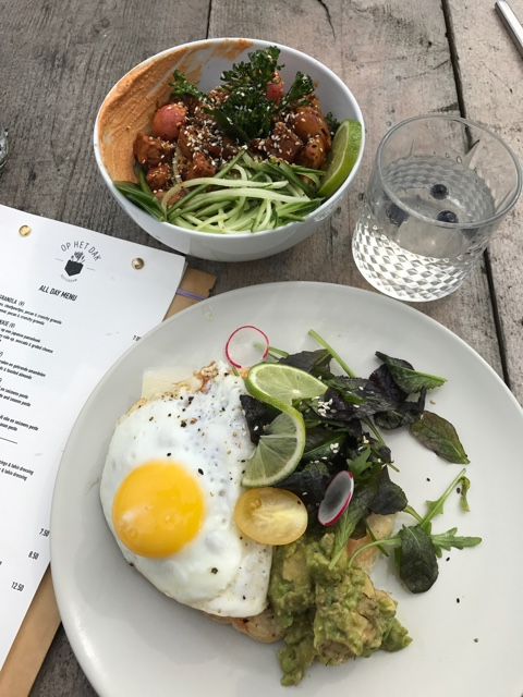 buddah bowl and eggs, avocado cheese brekkie on a Japanese pancake breakfast at Op het dak on the roof - First-Timers Guide for Visiting Rotterdam