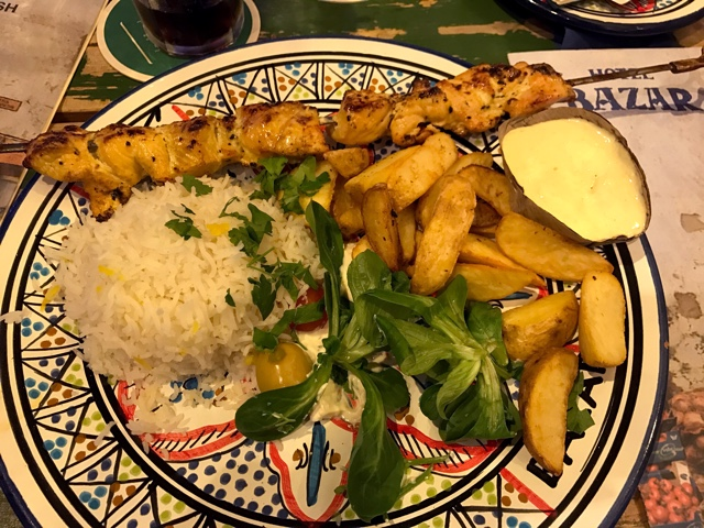 grilled chicken kebab with rice and potatoes at bazar hotel and restaurant - First-Timers Guide for Visiting Rotterdam