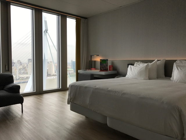view of the erasmusbrug bridge from a room in the nhow rotterdam hotel - First-Timers Guide for Visiting Rotterdam