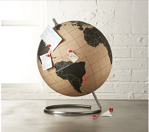 cork push pin globe - The Travel Lovers Perfect Holiday Gift Guide