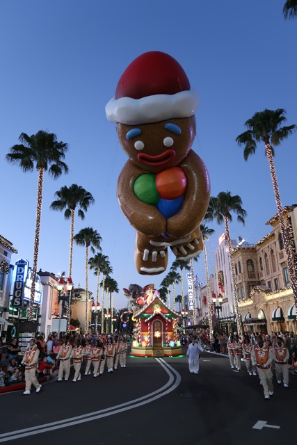 gingerbread man from Shrek in the macys holiday parade at universal - Best Tips for Celebrating the Holidays at Universal Orlando