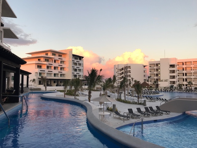 sunset over the semi private pool - Ventus at Marina El Cid Spa and Beach Resort Hotel Review