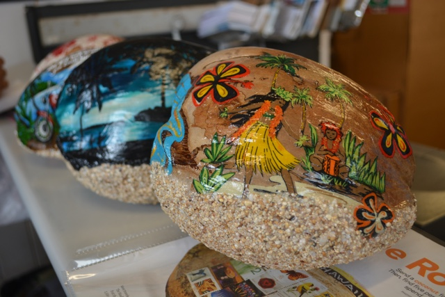 decorated post a nut coconuts at the Hoolehua post office in molokai - Best Tips for Visiting Molokai, Hawaii