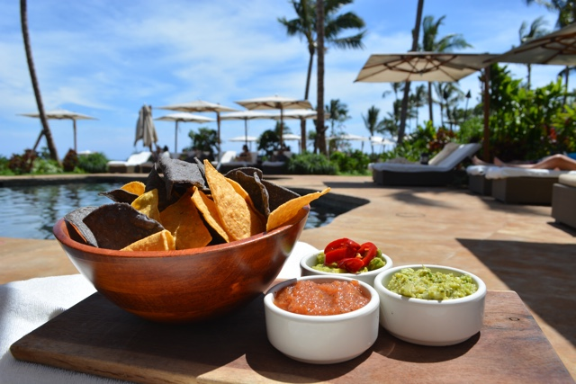 guacamole and chips food service by the retreat pool adults only - Four Seasons Resort Lanai in Hawaii Review