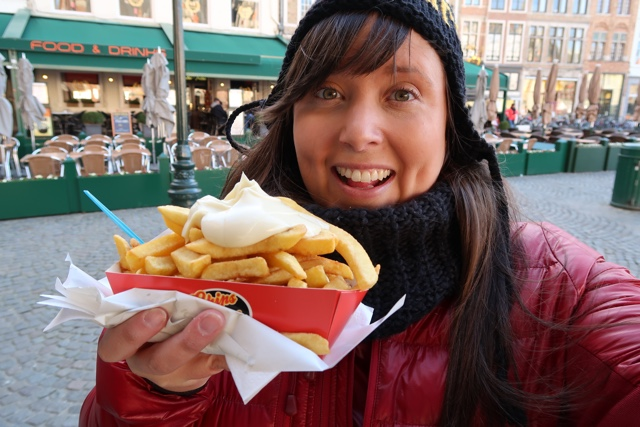 best french fries in Bruges in front of the Belfry in Markt square
