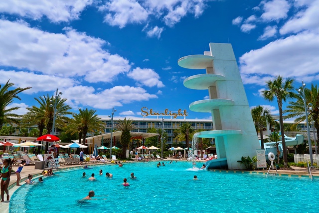 cabana courtyard pool with slide at the universals cabana bay beach resort