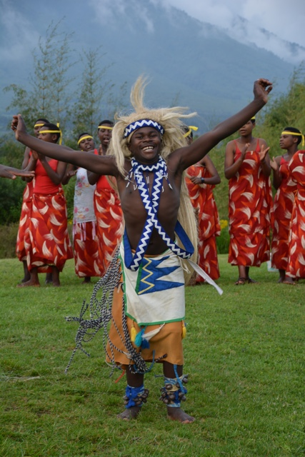 students perform a dance at the mountain gorilla view lodge in rwanda