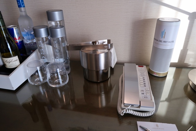 amazon echo plus in hotel room with mini bar snacks - Marina Del Rey Hotel Los Angeles Review