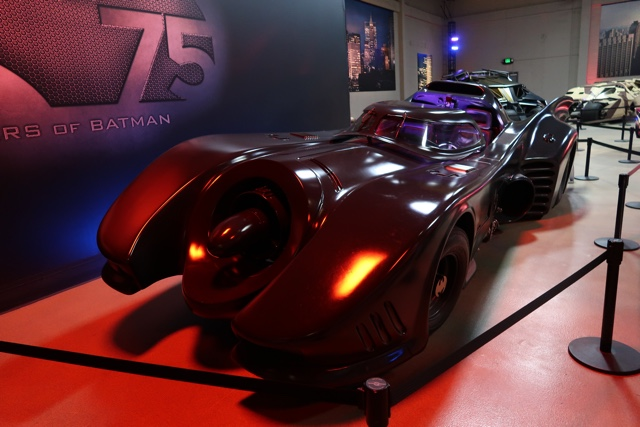 Batman 75th Anniversary exhibit batmobiles from all 7 films warner brothers studio tour la