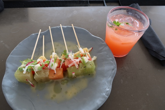 melon and tomato appetizers at bar bistro 17 - The Aventura Hotel at Universal Orlando Review