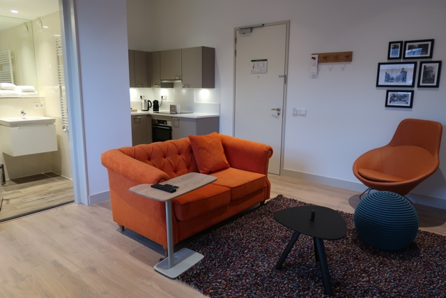 wittenberg amsterdam hotel bathroom living space and kitchen in a one bedroom apartment - The Wittenberg Aparthotel Amsterdam Review