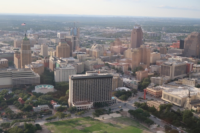 a view of downtown san antonio from the top of the tower of the americas - things to do in san antonio today