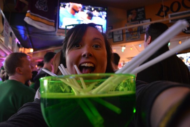 enjoying a large green beer at dick's last resort - guide to st. patrick's day in chicago