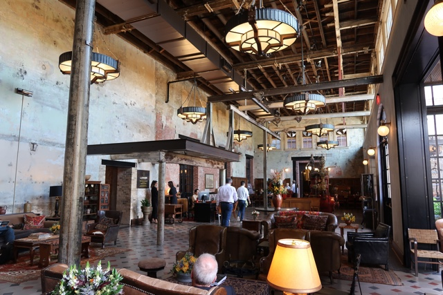 inside the lobby of hotel Emma at the Pearl Brewery district - things to do in san antonio today