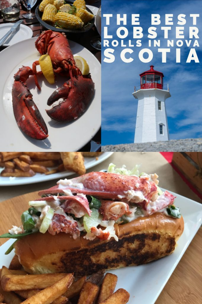 A pinterest pin with lobster and a lobster roll for the nova scotia lobster crawl