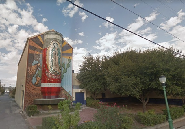 virgin of guadalupe votive candle street art san antonio from google street view