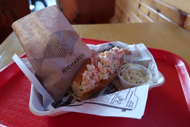 fresh lobster roll and fries from Richards in PEI - Where to Eat the Best Lobster Rolls in Prince Edward Island?