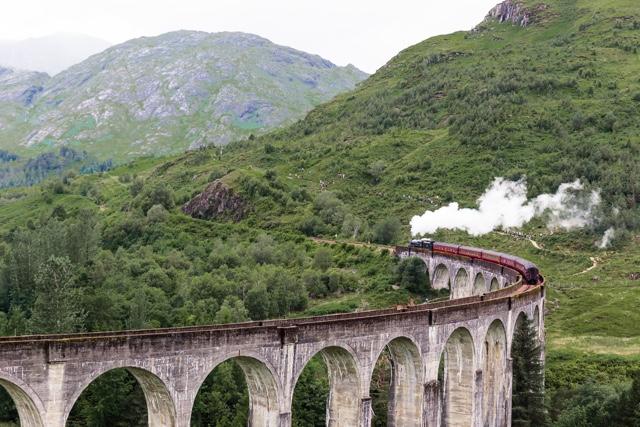 The Glenfinnan Viaduct and Jacobite Steam Train in Scotland aka hogwarts express
