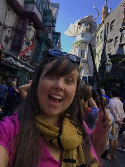 Cailin in Diagon Alley at universal orlandos wizarding world of harry potter