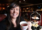 cailin enjoying afternoon tea at the library bar in the fairmont royal york hotel toronto