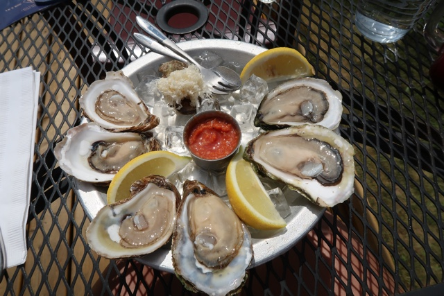 fresh PEI oysters served with grated horseradish lemon and seafood sauce
