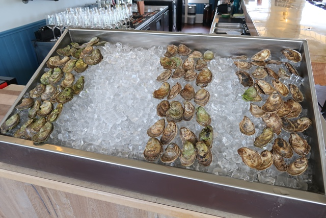 the PEI oyster raw bar at the wheelhouse restaurant in georgetown prince edward island