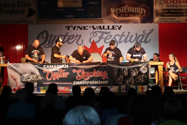 the oyster shucking competition at the tyne valley oyster festival in PEI