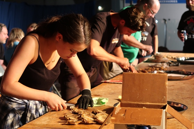 oyster shuckers at the canadian oyster shucking championships as part of the tyne valley oyster festival in PEI