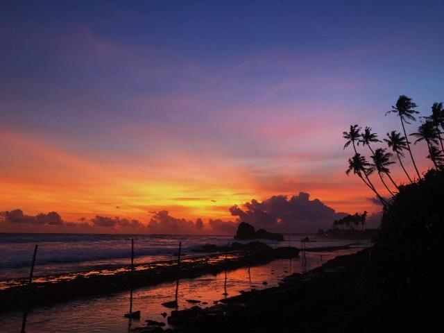 beach sunset colombo sri lanka